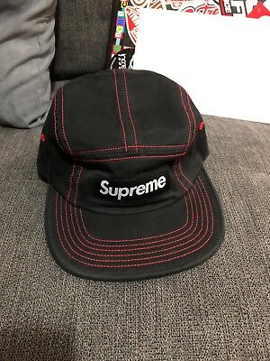 25ea344cdd0 SUPREME New Contrast Stitch Camp Cap SS18 Black Red Box Logo 5 Panel Hat •  70.00