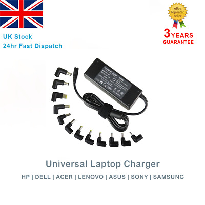 Universal Laptop Charger 90W AC Power Adapter Multi Connectors HP Dell Acer Asus • 16.90£
