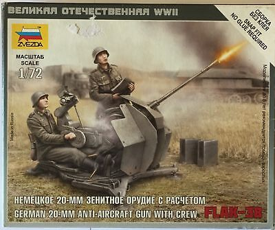 Zvezda 1/72 GERMAN 2 CM FLAK 38 WITH CREW • 4.49£