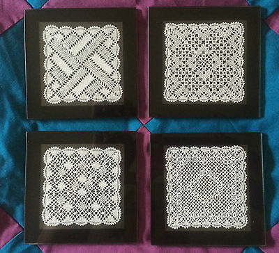 Torchon Lace Glass Coaster Kit. 4 Original Design By Harlequin Lace Lacemaking  • 8£