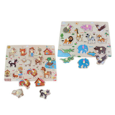 AU17.01 • Buy 2 Set Wooden Peg Puzzle Animal Jigsaw Educational Toys For 1-4 Year Old Kids