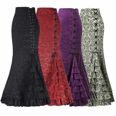 66ab593d69 Vintage Womens Gothic Long Steampunk Skirt Mermaid Fishtail Victorian Dress  Lot • 15.71$