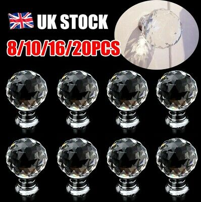 48Pcs Clear Crystal Glass Door Knob Handle Drawer Cabinet Furniture With Screws • 5.99£