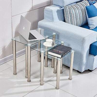 Set Of 3 Square Clear Glass Nested Side End Table Stainless Legs Stack Table New • 45.99£