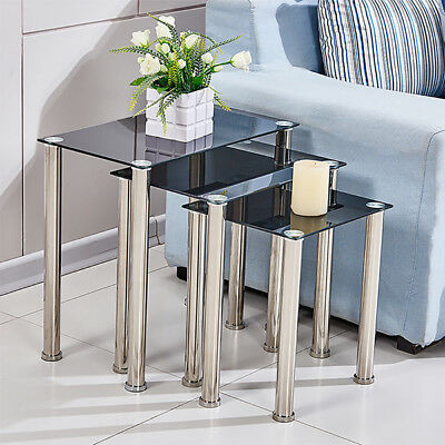 Set Of 3 Square Black Glass Nested Side End Table Stainless Legs Stack Table New • 45.99£