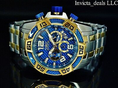 33028b837 Invicta Men's 50mm Pro Diver SCUBA Chrono Blue Fiber Glass Gold Tone 2Tone  Watch • 89.99