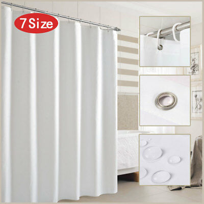 £7.99 • Buy Fabric Shower Curtain Waterproof Plain White Extra Long Standard With Hooks Ring