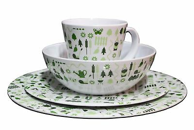 £26.99 • Buy 8 Piece Melamine Dinner Set Plates Mugs Picnic Outdoor Camping BBQ Dining For 2