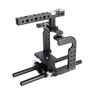DSLR Camera Video Cage With 15mm Rod Rig Support For Panasonic Lumix GH4 GH5 • 49£