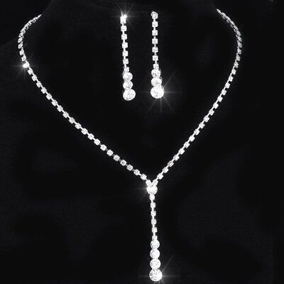 £4.75 • Buy Silver Crystal Rhinestones Sparkling Bridesmaid Prom Necklace And Earring Set UK