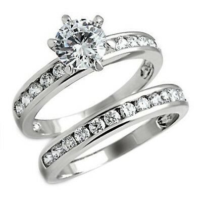 $11.40 • Buy 1.03 Ct Solitaire Engagement Ring 2 Pcs Set Round Clear CZ White Gold Plating