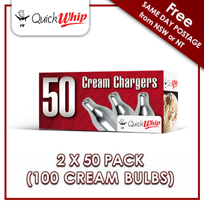 AU52.95 • Buy 100 CREAM CHARGERS  8g N20 Bulbs - 50 PACK X2 - Pure Nitrous Oxide - QuickWhip