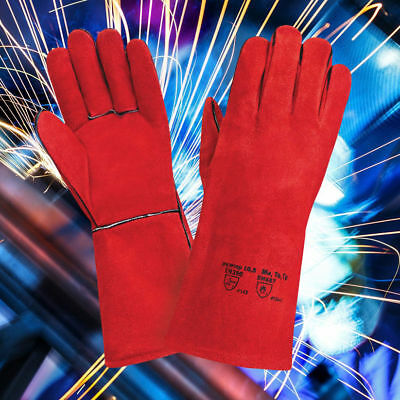 Red Superior Mig Welding Gauntlets Protective Gloves Heat Resistant Leather • 6.49£