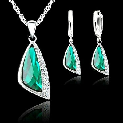 £5.49 • Buy 925 Sterling Silver Green Cubic Zirconia Crystal Pendant Necklace Earring Set