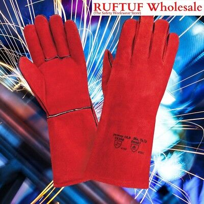 50 X Red Superior Mig Welding Gauntlets Heat Resistant Leather Safety Gloves XL • 6.49£
