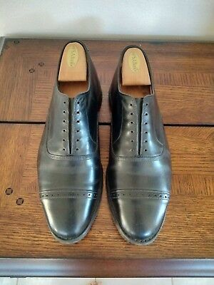 c82427e5478 Brooks Brothers Men s 9 E (Wide) Allen Edmond Leather Captoes Black Dress  Shoes •