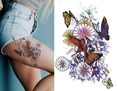 £2.89 • Buy Temporary Tattoo Large Floral Butterfly Daisy Flowers Body Art Fake Waterproof