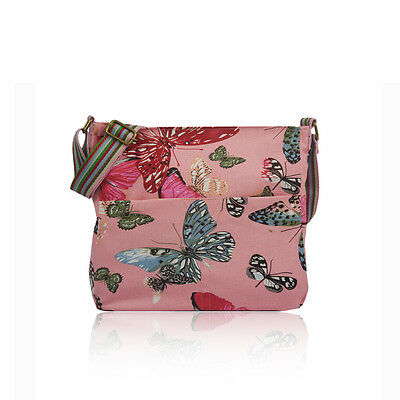 £9.99 • Buy Pink Large Butterfly Print Canvas Cross Body School Messenger Bag Birthday Gift