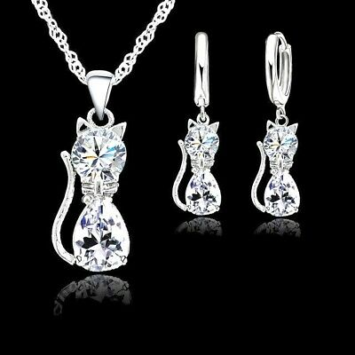 £5.49 • Buy 925 Sterling Silver Cat Kitten Crystal Pendant Necklace And Earring Set Gifts UK