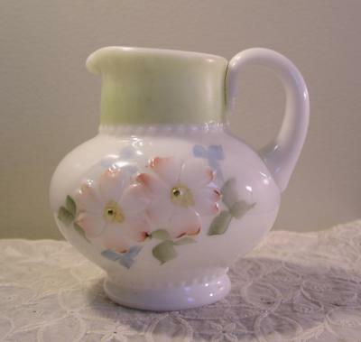 $25 • Buy Antique Opaque Glass Pitcher Applied Handle Raised Embossed Flowers