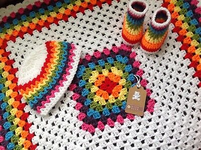 Handmade Crochet Baby Blanket/car Seat/pram/crib Rainbow Boy Girl Christmas Set • 19.99£