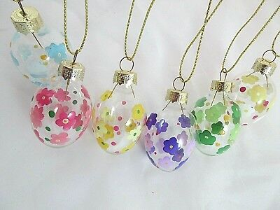 6 Hand Painted Glass Easter Egg Decorations For Easter Tree. Flowers Floral Hunt • 3.25£