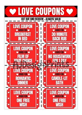AU8.37 • Buy Love Valentines Day Coupons Vouchers Couple For Her Him Gift Present Funny