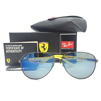 c4e2f3ca4e Ray-Ban RB8313M F003 H0 Ferrari Gunmetal Yellow Sunglasses Blue Chromance  Lens • 152.11