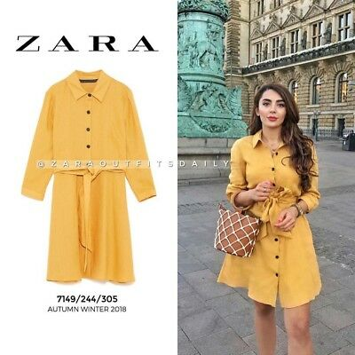 $49 • Buy Rare_nwt Zara Aw18 Mustard Shirt Dress Linen Tunic With Belt_xs S L Xl Xxl