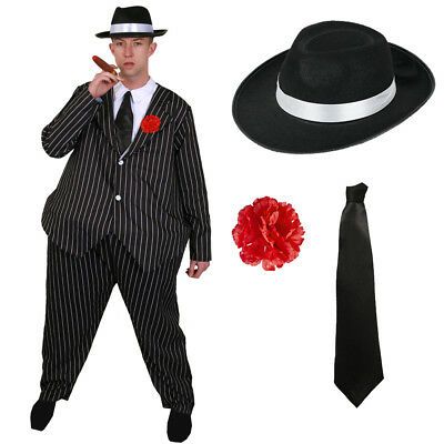£19.99 • Buy Mens Fat Gangster Costume Hat Tie 1920's Fancy Dress Novelty Al Capone Outfit