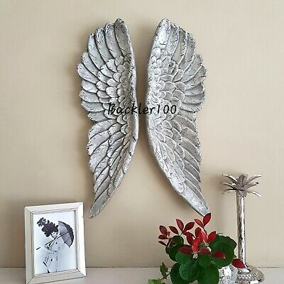 £64.99 • Buy Large Pair Of ANGEL WINGS Aged Silver Finish Ornate Wall Hanging 60cm Gift