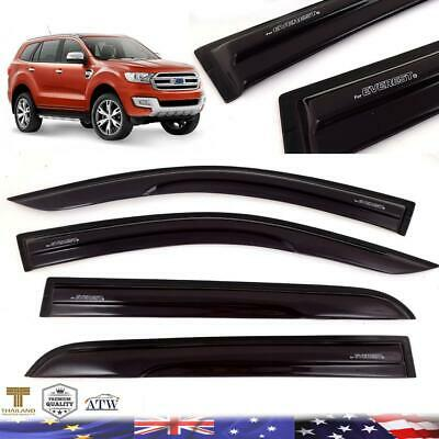 Black 4Doors Weather Protect Guard Visor Windshield For 2015+ Ford Everest SUV_ • 82.44$