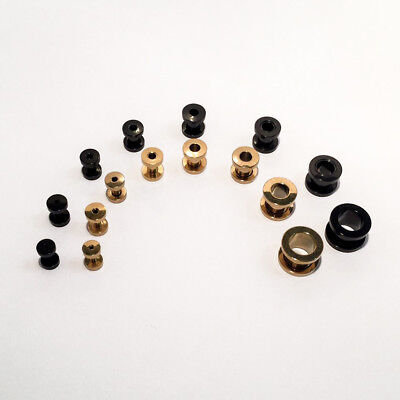 Gold Or Black Steel Ear Screw Fit Tunnel Plug Set Small Large 8pc 2mm-10mm • 3.99£