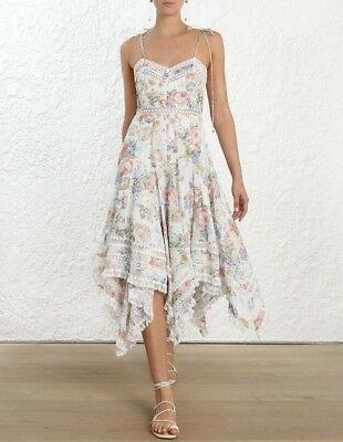 $375 • Buy New With Tag Zimmermann Bowie Pintuck Scarf Dress $995