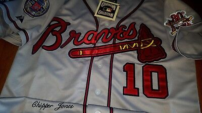 824210fc3 Atlanta Braves  10 Chipper Jones Throwback Two Patches Sewn Grey Jersey  Free SH • 69.99