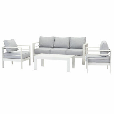 AU949.99 • Buy New White Outdoor Aluminium Sofa Lounge Setting Furniture Set Arms Chairs Table