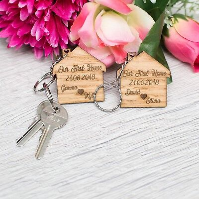 2 X Personalised Keyrings OUR FIRST HOME Wooden House Warming Keyring Gift OAK • 4.89£