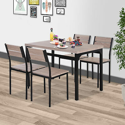 View Details 5pcs Wooden Bar Dining Set Kitchen Table Chair Set For 4 • 201.99$ CDN