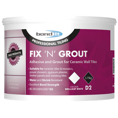 £9.99 • Buy Bond It 3.75kg Fix N Grout Tile Adhesive Internal Use Ideal For Showers And Wet