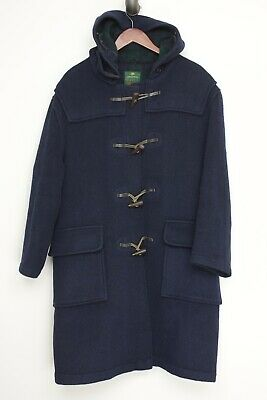 $199.99 • Buy VTG Morris Mufti Mens Duffel Coat 44 Solid Navy Blue Hooded Toggle England