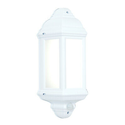 LED Half Lantern Outdoor Wall Light With PIR - White Presence Detector 7W IP44 • 24.99£