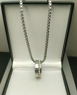 £29.99 • Buy Mens Personalised Steel Cubic Zircona Greek Key Ring Necklace Gift For Him UK
