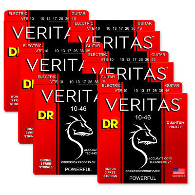 $ CDN54.85 • Buy 6 Sets! DR Strings VTE-10 Veritas Quantum Nickel Electric Medium 10-46