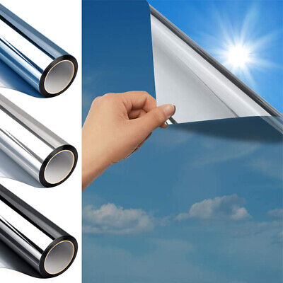 Silver Reflective One Way Mirror Window Film Mirrored Privacy Glass Solar UK • 6.99£