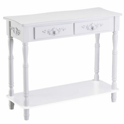HOMCOM Console Table 2 Drawer Hall Table Wood Storage Shelf White • 69.99£