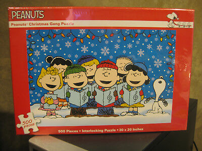 Peanuts Snoopy Charlie Brown Christmas Gang Puzzle 500 Piece - New, Sealed • 22.99$