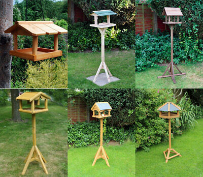 Traditional Wooden Bird Table Feeder Feeding Station Bird House Slate Deluxe   • 14.99£