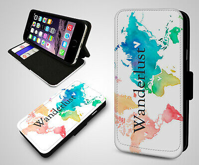 Wanderlust World Map Nomad Atlas Travel New Leather Wallet Flip Phone Case Cover • 4.99£