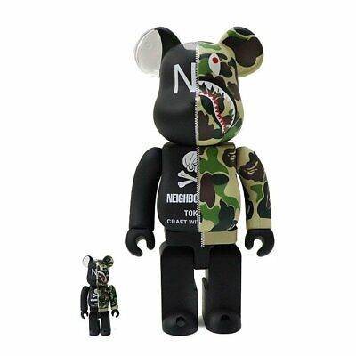 $599.99 • Buy 2018AW Medicom 400% + 100% Bearbrick A Bathing Ape Bape X Neighorhood Be@rbrick