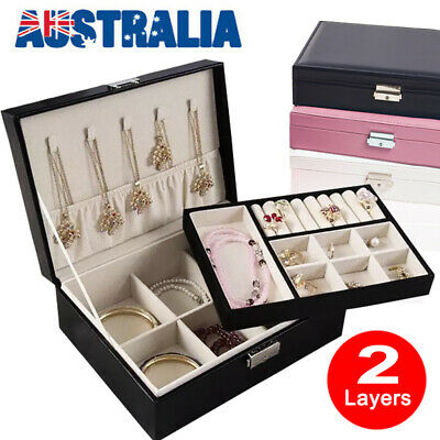 AU19.48 • Buy VIVVA Dual Layer Jewelry Necklace Box Organizer Leather Case Storage Organizer